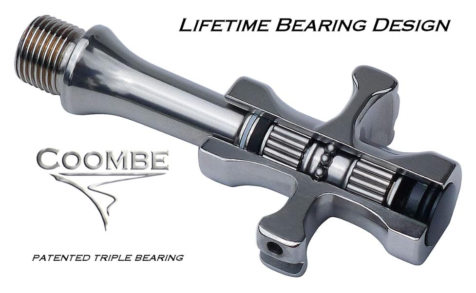 Coombe Millennium II bicycle pedals feature a patented triple row bearing designed for high performance. cycling.